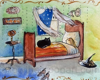 Sleepy Witch Black Cat Ghost in the Window Nighttime Halloween Quality Art Print