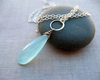 Long Aqua Chalcedony, & Sterling Silver Necklace, Layering Necklace, Statement Necklace