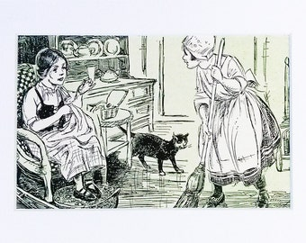 Matted Print Kitty Cat Kitchen Home Living Home Decor Cupboard Broom Sewing Basket Rocking Chair Antique Mat Print Story Art Wall Decor