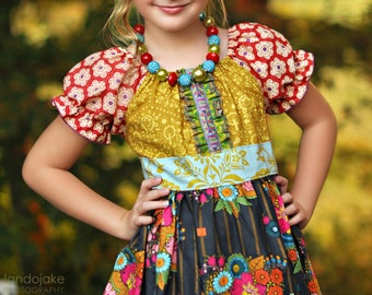 Girls Fall Dress Peasant Dress Girls Autum Dress Girls Twirl Dress Little Girls Boutique Dress Toddler Dress Peasant Dress
