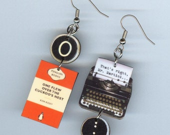 Book  Cover Earrings - One Flew Over the Cuckoo's Nest Quote - Typewriter jewelry - Designs by Annette - Literary reader student gift