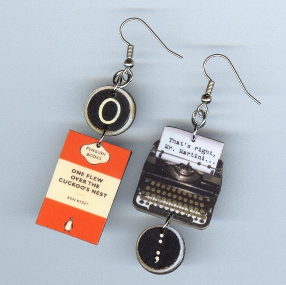 One Flew Over The Cuckoos Nest Quotes: Book Cover Earrings One Flew Over The Cuckoo's Nest
