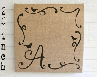 Bird Monogram -  Custom 20 inch Burlap covered Cork Message Board - Bird Bulletin Board - Memo Board - Pin Board -  Personalized Initial