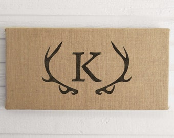 Monogram Deer Antler 12x24  Burlap Covered Cork Message Board  Antler Decor  - Pin Board, Cork Board, Bulletin Board, Memo Board  - Custom