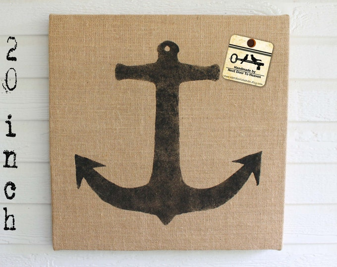 Anchor -  Burlap covered Cork Message Board 20 inch - Pin Board - Tack Board - Memo Board - Bulletin Board - Anchor Decor - Nautical