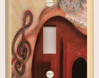 Single Toggle Light Switch Plate - Red Guitar Butterfly Blues