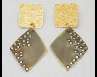 GOLDEN BRONZE - Handforged Flamed and Hammered 2 Pc Bronze Earrings