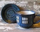 Police Box Tea Cup - Pottery Soup Mug - Handmade -  Doctor Who Tea Cup - Dr. Who Inspired - MADE TO ORDER