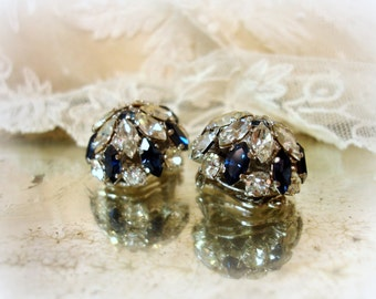 vintage sapphire and cRystal rhinestone earrings marked AUSTRIA clip on earrings prong set rhinestones