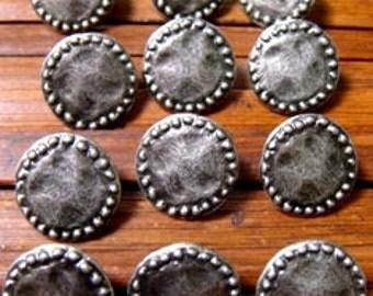 10 Metal Buttons Gun Metal finish 15mm with Shank