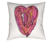 Pink Heart Pillow, Decorative pillow, throw pillow, whimsical pink heart pillow, Illustration, funky, pillows, Art, Ingrid Padilla