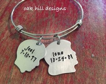 Silhouette charm bracelet-children's head bracelet-personalized bangle bracelet