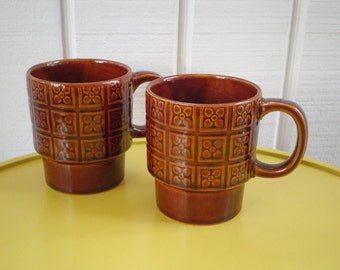 Vintage Brown Flower Square Retro Pattern Coffee Mugs / Cups, Set of 2, Made in Japan, Circa 1970s