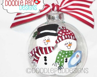 Baby's First Christmas Snowman Ornament Personalized free