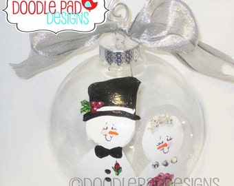 First Christmas Ornament, Bride and Groom Snowman Ornament,  Personalized free