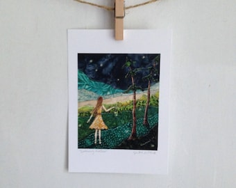Gathering fireflies, yellow dress, summer night,emerald green,  Archival Reproduction Print 5 x 7