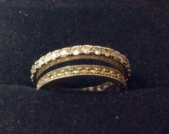 2 Sterling silver wedding bands size 9  CZ