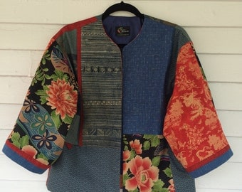 Cherry Red and Indigo Blue Kimono Style Jacket
