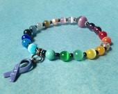 Custom Feature - Rainbow Cat's Eye Beaded Cancer Awareness Hope Bracelet with larger bead & enameled charm- 100% donation