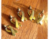 Destash 5 golden awareness ribbon charms- 100% donation to cancer research