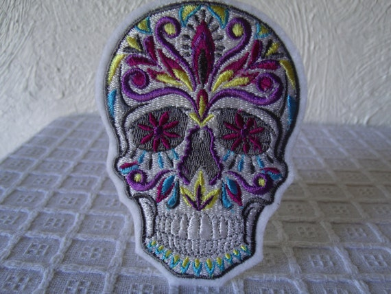 Sugar Skull Embroidered Iron On Patch Dia De Los by ...