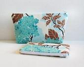Cosmetic Case Makeup Bag Zipper Pouch SET Hydrangea in Egg Blue Birch Farm by Joel Dewberry