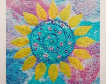 Embroidered Sunflower Printed Greetings Card