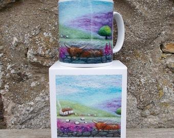 Scottish Highland Cow Mug Porcelain