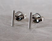 7mm x 1mm Brushed Silver Bar Stud Earrings Sterling Silver Earrings Tiny Thin Studs by SARANTOS