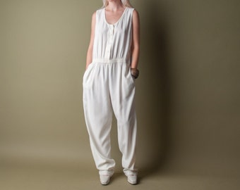 tunnel vision white jumpsuit / lounger jumpsuit / baggy jumpsuit / m / 1512d