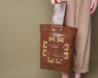 caresse mod crosshatch purse / bucket purse / vintage 60s purse / 658a