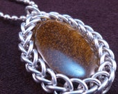 Wrapped Tigereye - Chain Maille Pendant - Chain Included