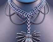 Spider in Chains - Chain Maille Necklace/Choker - Gunmetal Gray