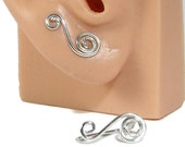 Minimalist Sterling Silver Wire Ear Climber Earrings Swirl Ear Sweeps, ear cuff, bar earrings,studs jacket