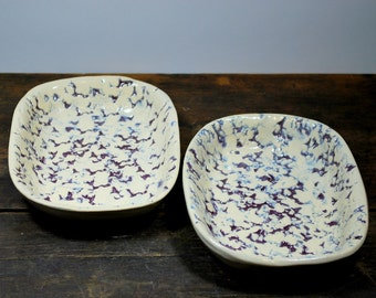 Set of Two Textured Purle and White Square Bowls Hand Built Stoneware Clay Pottery