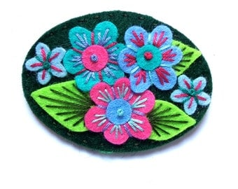 Victoriana felt brooch pin with freeform embroidery