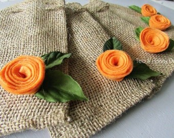 Burlap Favor Gift Bags with Orange Felt Flowers for Autumn Fall Set/5