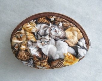 Small Quilted Purse - Cats in brown and tan