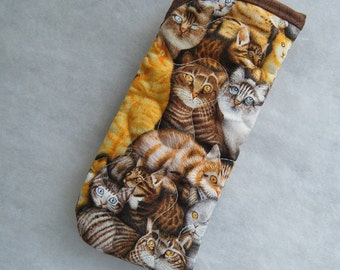 Quilted Eyeglass/Sunglass case - Cats in brown and tan