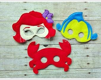 Mermaid Masks, Crab Mask,  Fish Mask, Pretend Play, Halloween Mask, Easter Basket, Creative Play Mask--Set of all 3