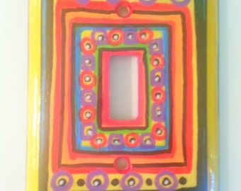 Wooden Whimsy hand painted single switch plate