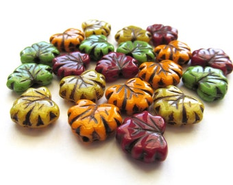 Autumn Mix Glass Maple Leaf Beads with Black Inlay, 13mm - 10 pieces