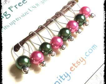 Snag Free Stitch Markers Small Set of 8 - Pink and Dark Green Glass Pearls -- K85 -- Up to size US 8 (5.0mm) Knitting Needles