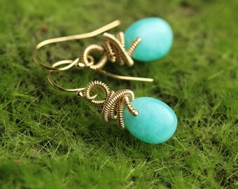 Amazonite Drops Dangle Earrings with Freeform Coils