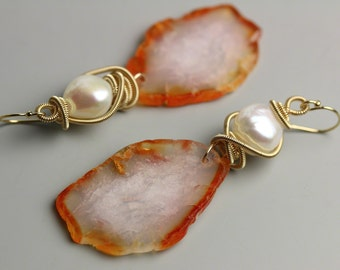 Red Agate Slice Earrings with Gold Fill Wrapped Pearls