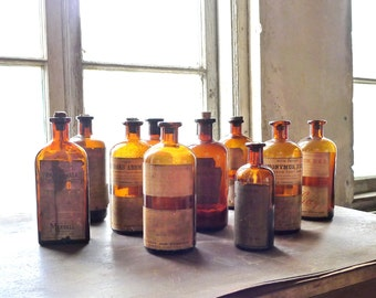 Edwardian Apothecary Bottle Collection