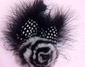 Black Marabou Guinea Feathers w/ Rabbit Fur Rosette Fascinator Anywhere Clip w/ Brooch Pin