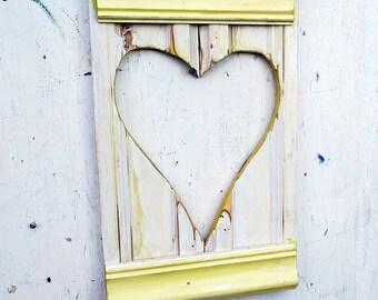 Yellow Heart, Reclaimed Wood Heart, Baby Girl Decor, Nursery Art,  Recycled Heart, Wood Wall Heart, Wooden Wall Decor, Salvaged Heart