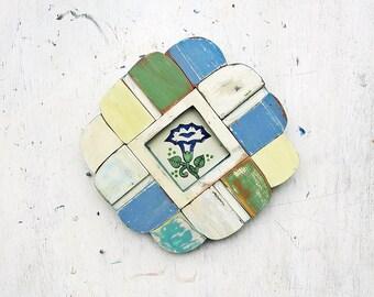 Reclaimed Wood Mosaic Art, Boho Decor, Rustic Wall Decor, Primitive Folk Art Mosaic, Framed Flower Tile, Wood Wall Art, Kitchen Decor