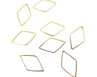 Gold Plated Diamond Shape Wire Charms (12x) (K201-C)